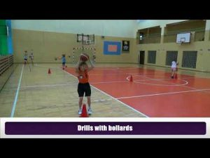 Basketball drills for 7-8 year olds Dribbling drills with sash and bollards